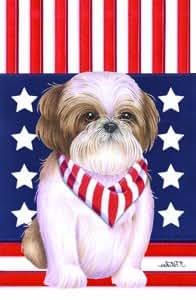 Shih Tzu Brown - Tomoyo Pitcher Patriotic Garden Flag