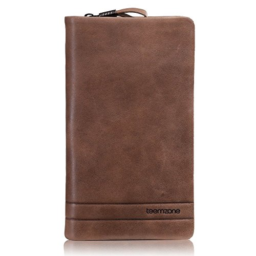 Teemzone Leather Clutch Zip Bag Wallet Handbag Brown Womens Checkbook Single Card Mens Genuine Purse Organizer Case rHxtwrR