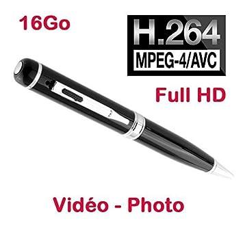 Bolígrafo con mini cámara espía Full HD H264 720P y 1080p cámara 2048 x 1536 P, USB, 16 GB negro Pen de 1080 - 16 Gb: Amazon.es: Electrónica