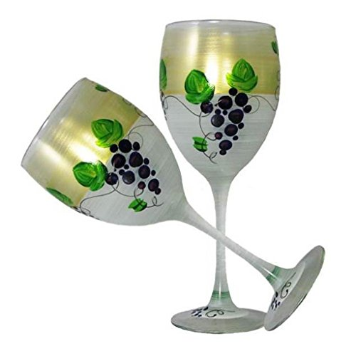 Golden Hill Studio Wine Glasses Hand Painted in the USA by American Artists-Set of 2-Grapes 'n Vines Collection