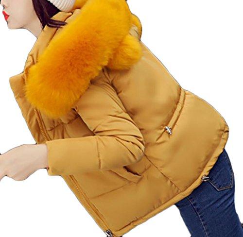 EKU Women Quilted Paddeds Faux Fur Hood Warm Slim Fit Down Coat Jacket 3
