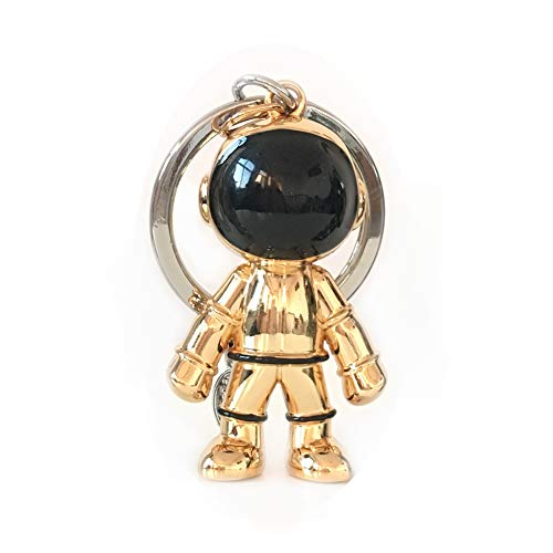 (Gold Robot Keychain Flexible/Durable Heavy Duty Robot Pendant with Key Chain Ring - Heavy Duty for Unisex & Family/Key Holder for Office/House/Car Key/Backpack/Purse)