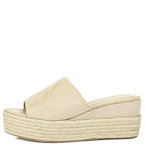 Suede Toe Open Stone MASIE Wedge Peep Sandals Heel SPYLOVEBUY Shoes Style Women's x7ZqvH