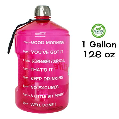 QuiFit 1 Gallon Water Bottle Reusable Leak-Proof Drinking Water Jug for Outdoor Camping Hiking BPA Free Plastic Sports Bottle(Hot Pink)
