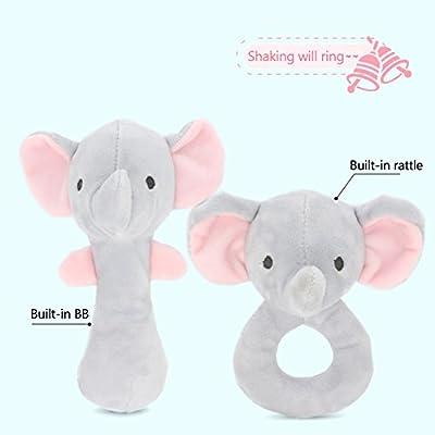 Isuper Peluche Animados,Felpa Juquete,Sonajeros con Sonidos diseño de Lindo Elefante con Campanas Regalo para Bebés Recién Nacido (Gris)