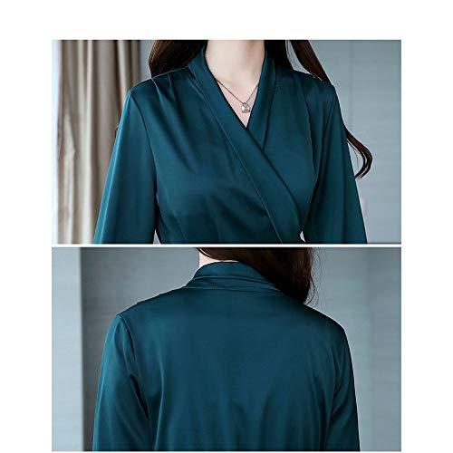 Columpio Larga Vestidos Acampanado Pa Para Damas Camisa Manga Cinturón Ajuste Con En Verde Lisa Mujer Línea Corto Sólido Cuello V Vestido Invierno De Mini Y UpqrgWUv7