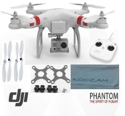 DJI Phantom Aerial UAV Drone Quadcopter Version 1.1.1 for GoPro Camera Hero 1 2 3 Hero3+ Silver Black and other actioncams + DJI Extra Set Self Tightening Propellers + Carbon Fiber Anti Vibration Anti-Jello Mount + Koozam Cleaning Cloth Extra Value Bundle