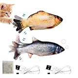 Electric Moving Fish Cat Toy ,Cat Kicker Fish Toy With USB Chargeable And Catnip , Cat Toy Interactive Live Fish Pillow Chew Bite Supplies Realistic Flopping Fish Cat Toy, Fun Toy for Cat Exercise, Plush Interactive Cat Toys, Motion Kitten Toys(2Pack)