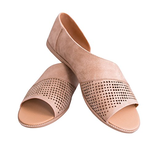Nulibenna Donna Casual Open Toe Slip On Side Cut Out Bottino Piatto Bottino Marrone