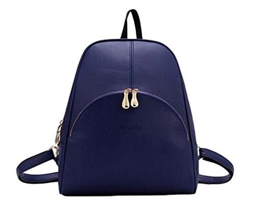 YAANCUN Mujeres Pu Cuero Backpack Mochilas Escolares Mochila Escolar Casual Bolsa Viaje Moda Lindo Azul