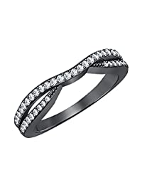 Dabangjewels 0.65 Carat (Ctw) 14k Black Gold Plated Lab White Sapphire Ladies Anniversary Wedding Guard Contour Band Ring