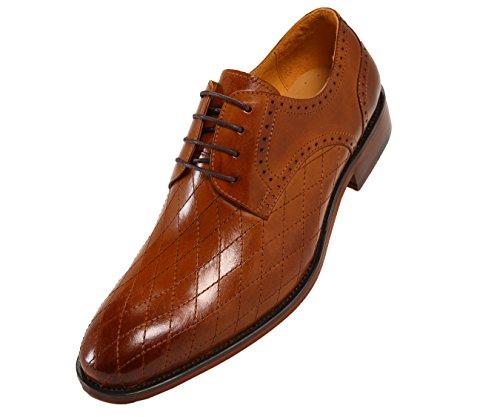 Asher Green Heren Gewatteerde Leren Kleding Schoenen, Comfortabele Veterpunnik Oxford, Stijl Ag369 Bruin