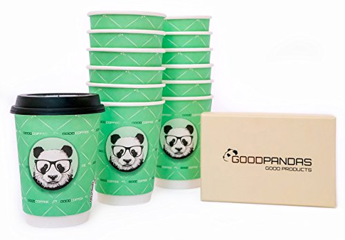 50 GoodPandas Paper Coffee Cups with Leak Proof Lids - PLUS FREE 16 Piece Decorating Stencils: Recyclable, Reusable, Disposable, 12 Ounce, Insulated