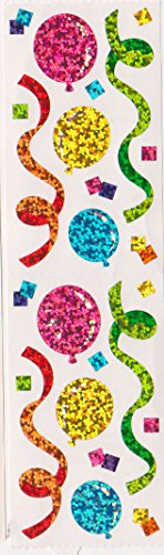 Happy Birthday Balloons Streamers Glitter Stickers - 2 Sheets]()