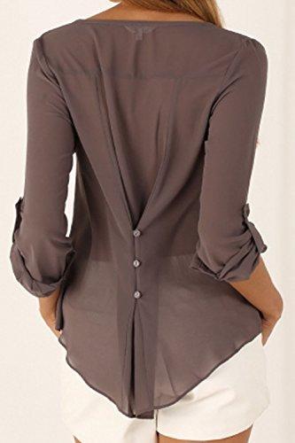 Womens Casual Plus Tamaño 3 / 4 Manga Gasa Blusa Tops De Las Camisas De Botón Gray