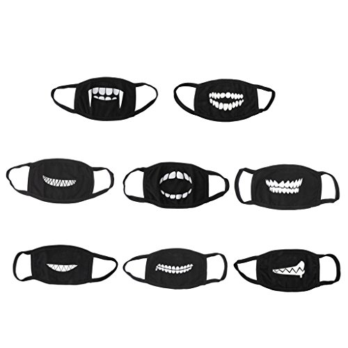 (Prettyia Set of 8pcs Men Women Cute Anti-Dust Cotton Face Mask Black Half Face Mouth Outdoors Sports Masks)