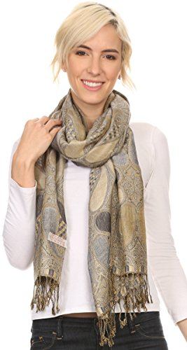 Sakkas 16124 - Raeste Long Wide Tassel Multi Colored Paisley Pashmina Shawl / Wrap - Grey - OS