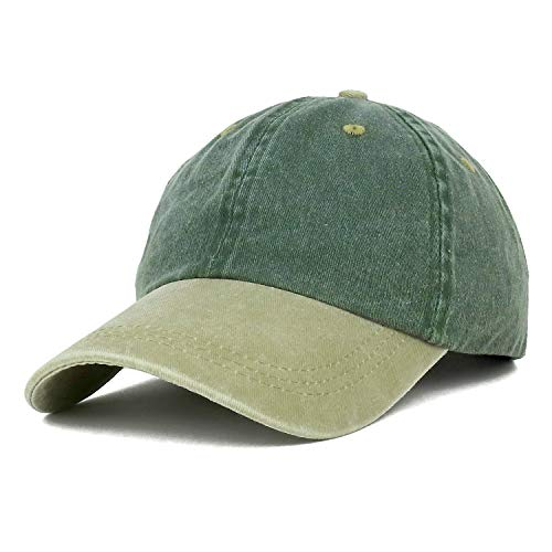 Trendy Apparel Shop Low Profile Unstructured Pigment Dyed Two Tone Baseball Cap - Spruce Khaki ()