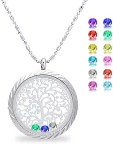 Family Tree of Life Screw Floating Charm Living Memory Locket, Stainless Steel Toughened Glass Necklace