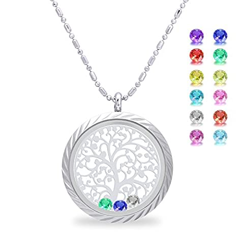 Family Tree of life Screw Floating Charm Living Memory Locket Pendant Necklace for mothers birthday Gifts for mom, daughter, her, wife, sister, christmas, girls, women, - Mom Jewelry