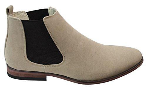 GALAX Mens Italian Suede Slip On Ankle Boots Smart Casual Desert Chelsea (Mens Beige Italian Suede)