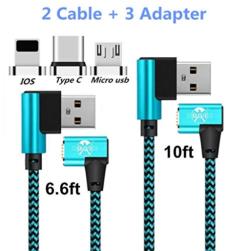 UGI Double 90 Degree L Shape Magnetic Charging Cable for Type C Micro USB C i-Product Right Angle 6.6ft 10ft Nylon Braided Cord Data Sync for LG HTC Huawei,Samsung,OnePlus,Sony,All Phone ()