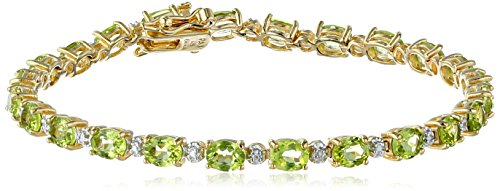 (18k Yellow Gold Plated Sterling Silver Genuine Peridot Oval Cut 5x4mm and Diamond Accent Tennis Bracelet, 7.25