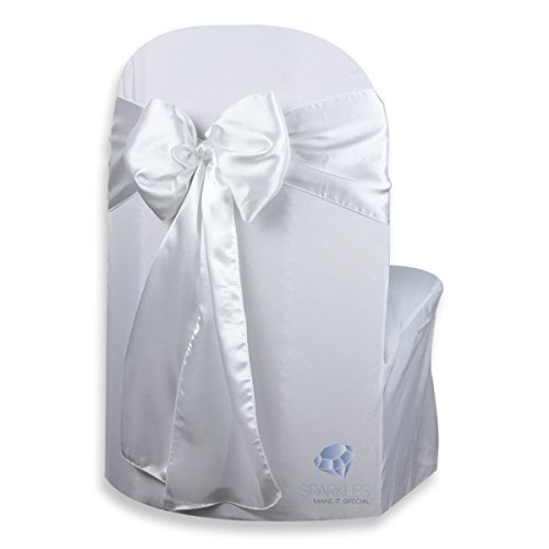 Sparkles Make It Special 50 pcs Satin Chair Cover Bow Sash - White - Wedding Party Banquet Reception - 28 Colors Available