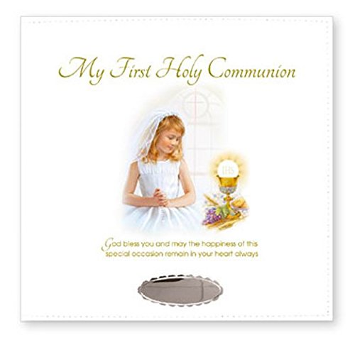 Girls First Holy Communion Leatherette Photo Album With Name Engraving Plate Catholic Communion Gifts & Lourdes Prayer Card