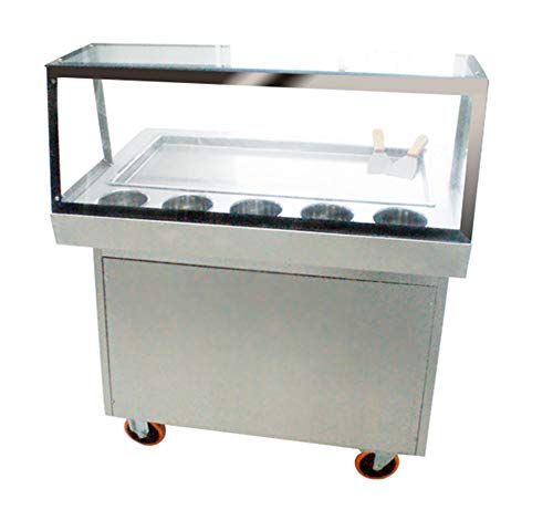 NEWTRY Commercial Thailand Fried ice Cream Yogurt Milk roll Making Machine with Long Big pan 5 Boxes Easy defrost