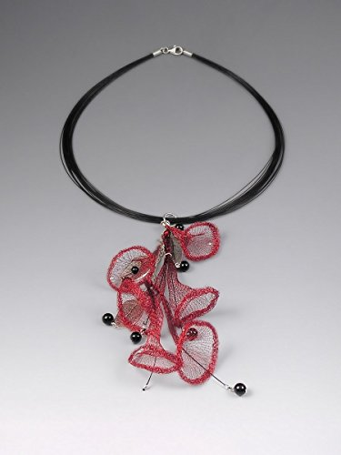 Knitted Niobium Wire Crochet Necklace Scarelt Red Mixed Media Sterling Silver Choker With Gemstone Accents Black Onyx drops