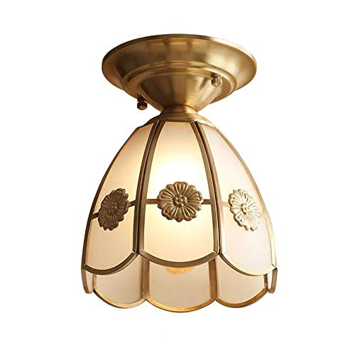 Vssun American Country Copper Ceiling Light Frosted Glass