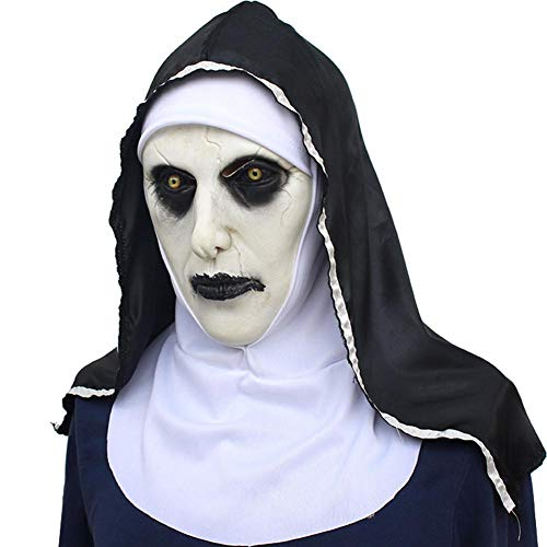 Betfandeful Nun Mask, Scary Latex Masks with Headscarf Full Face Helmet, Cosplay Horrible Halloween Mask for Women Costume -
