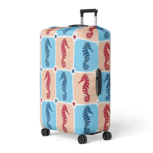 Semtomn Luggage Cover Aquatic Red and Blue Ocean Seahorse Merchandise Cute Fun Travel Suitcase Cover Protector Baggage Case Fits 22-24 -