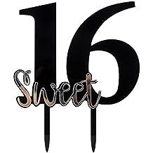 Karoo Jan Black Sweet 16 Cake Topper Happy 16th Birthday Cake Topper Happy Anniversary Party Decoration