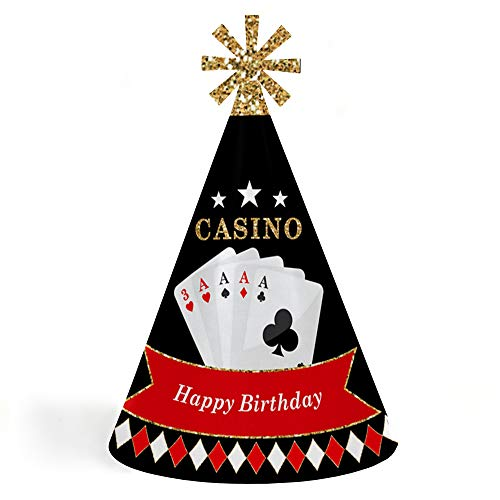 Las Vegas - Cone Happy Birthday Party Hats for Kids and Adults - Set of 8 (Standard Size) -