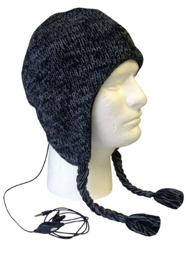Boss Tech Products, Inc. BTP-HAT-BLKGRY Aviator Style Knit Hat with Earflaps and Built-In Stereo Headset - Retail Packaging - Black/Gray ()