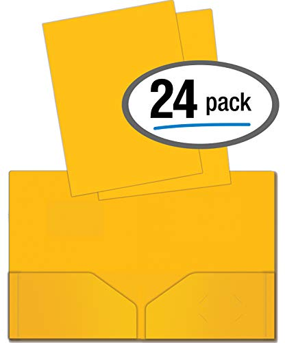 Heavyweight Plastic 2 Pocket Portfolio Folder, Letter Size Poly Folders by Better Office Products, 24 Pack (Yellow) by Better Office Products