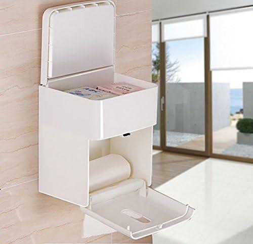 GONDD ティッシュボックス壁掛けトイレットペーパーホルダーフリーパンチ浴室収納アクセサリー、ホワイト、18×15.2×21.6センチ