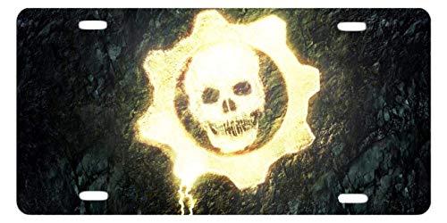 BGOJM Gears War Skull Custom Aluminum License Plate Frames Cover Car License Plate Cover 4 Holes Car Tag 6