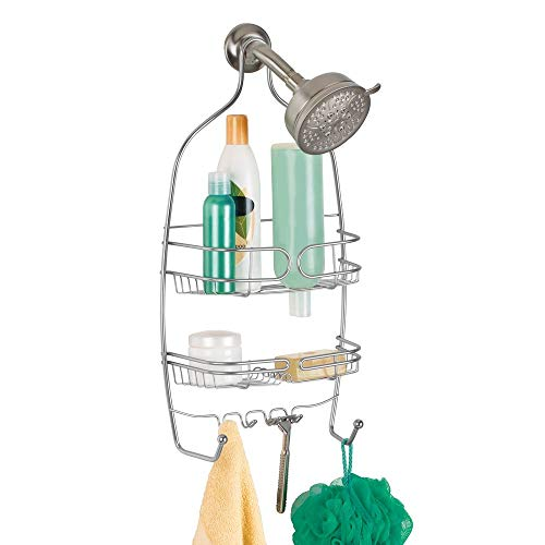 iDesign Neo Shower, Medium Metal Storage, Hanging Bathroom Caddy with 3 Shelves, 6 Hooks and 2 Suction Cups, Silver…
