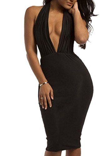 Hollow Mid Bodycon Coolred Bandage Dress Backless Women and Black Out Maxi Halterneck qnYYFEA0