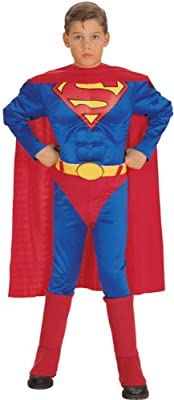 Super Dc Heroes Deluxe Muscle Chest Superman Childs Costume Small by Rubies