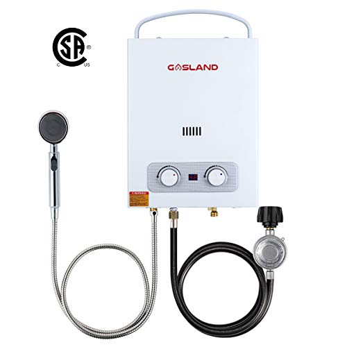 Tankless Water Heater, Gasland AS150 1.5GPM 6L Portable Propane Water Heater, Instant Propane Gas Water Heater Outdoor, Lightweight for RV Camping, Digital Temperature Display, Overheating Protection - Heater Propane Water