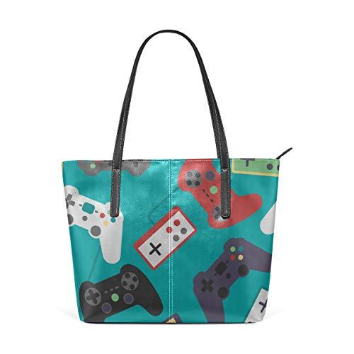 (Laptop Tote Bag A Set Of Retro Game Handles Large Printed Shoulder Bags Handbag Pu Leather Top Handle Satchel Purse Lightweight Work Tote Bag For Women Girls)