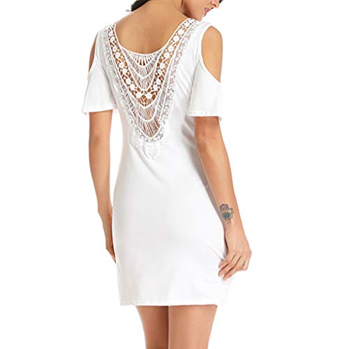 Yxiudeyyr Women Back Lace Insert Mini Dress Casual Solid Strapless Cold Shoulder Bodycon Shirt Dress White