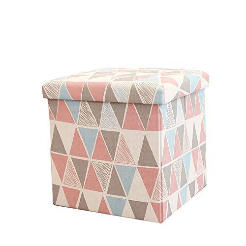 Qilo Silla Silla de Almacenamiento Caja de heces Crema tapizado Escabel Lino Plaza multifuncion con Cubierta removible, 38x38x38cm (Color : B)