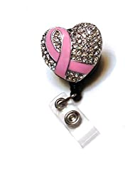 Pink Breast Cancer Rhinestone Badge Reel/ Retractable Rhinestone ID Badge Holder