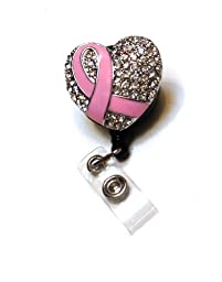 Pink Breast Cancer Rhinestone Badge Reel/ Retractable Rhinestone ID Badge Holder