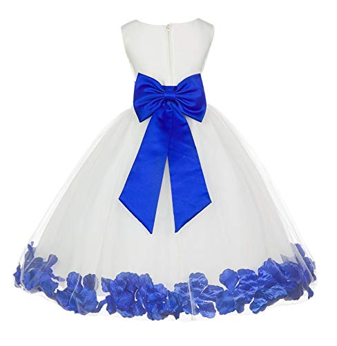 (Wedding Pageant Flower Petals Girl Ivory Dress with Bow Tie Sash 302a 16)